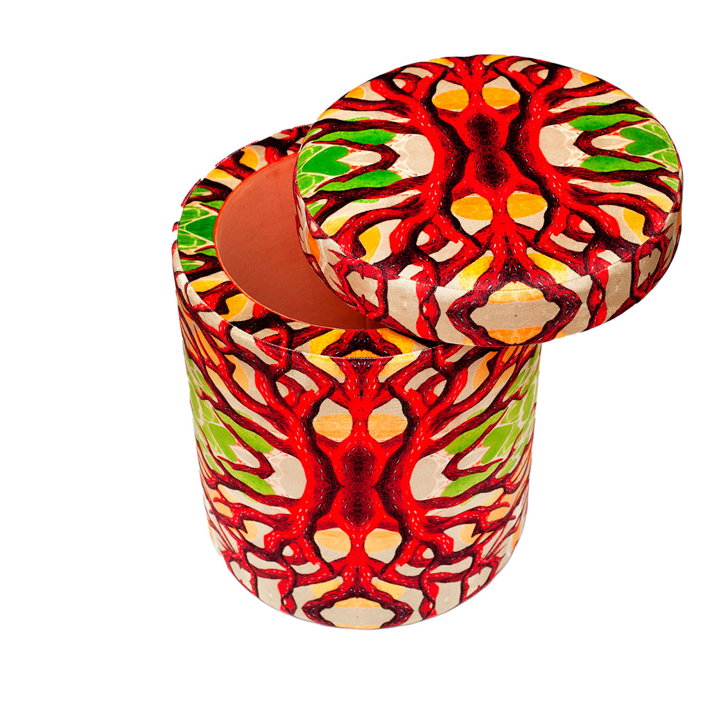 Heart of Coral Velvet Stool
