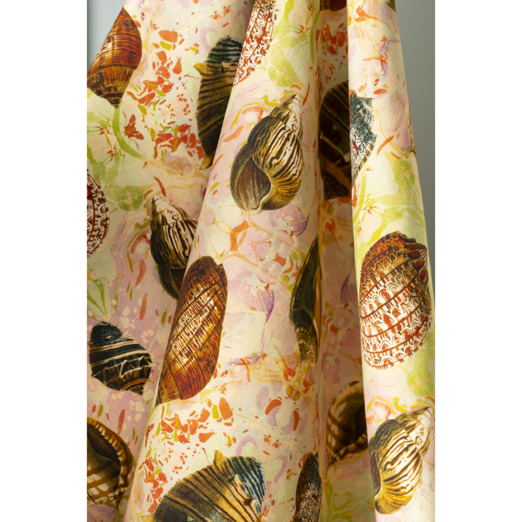 Indian Summer Shells Linen Fabric