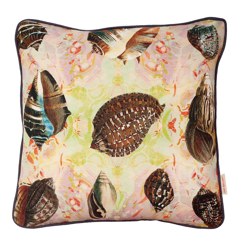 Indian Summer Shells Linen Small Square Cushion