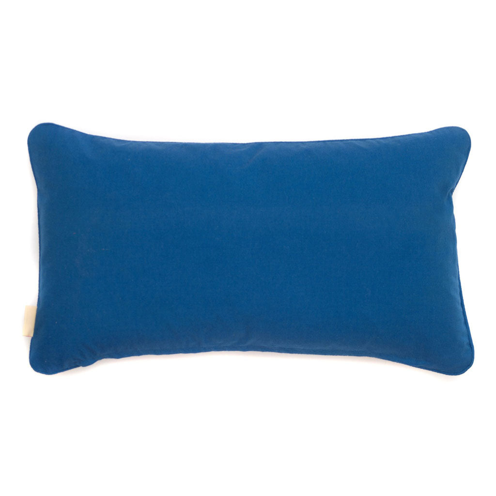 Blue Fantasy Kaleidoscope Marbled Velvet Medium Oblong Cushion