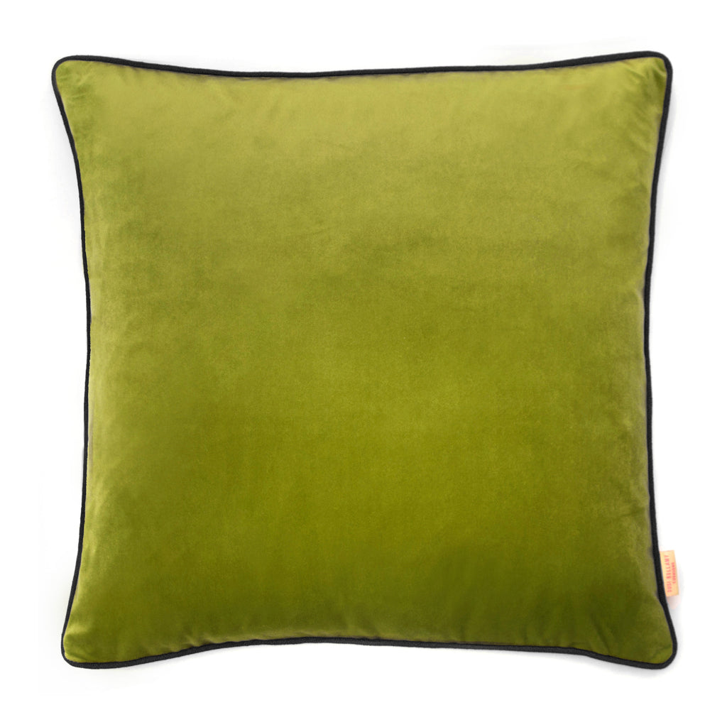 Lime Velvet Square Cushion