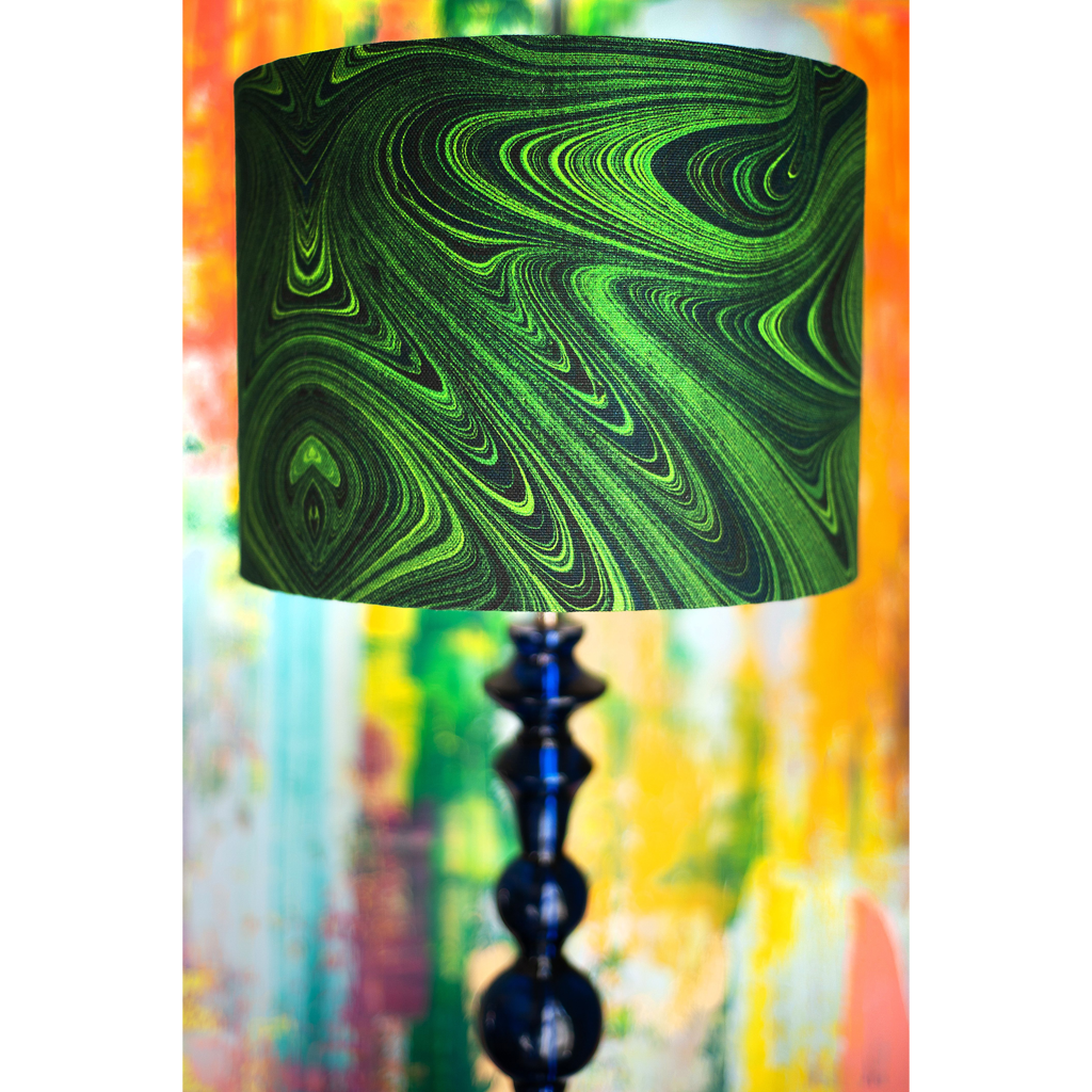 Malachite Linen Lampshade