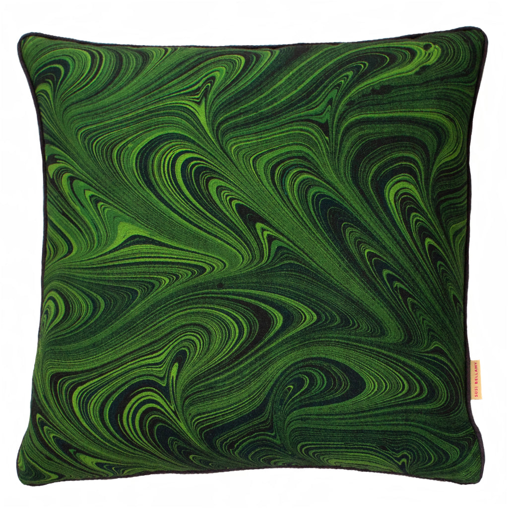 Malachite Malachite Linen Square Cushion