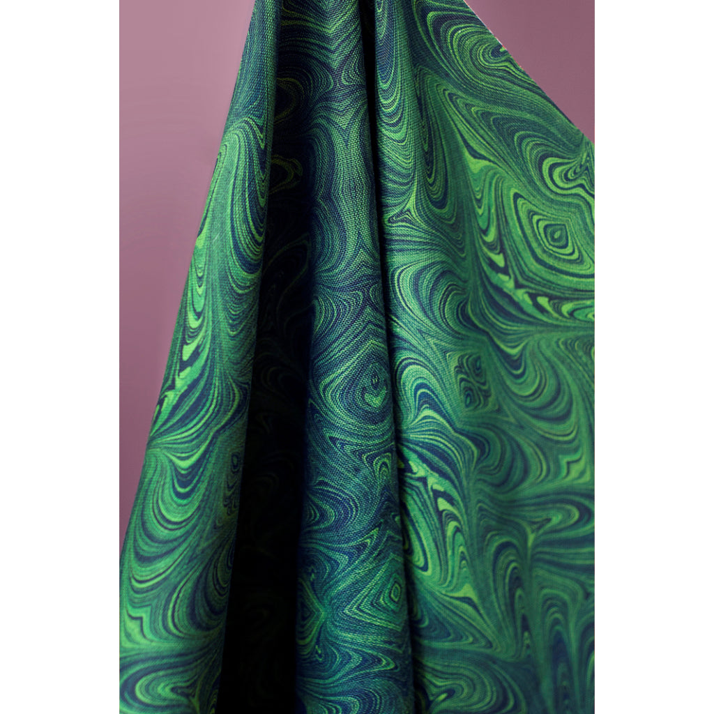 Malachite Marbled Linen Fabric