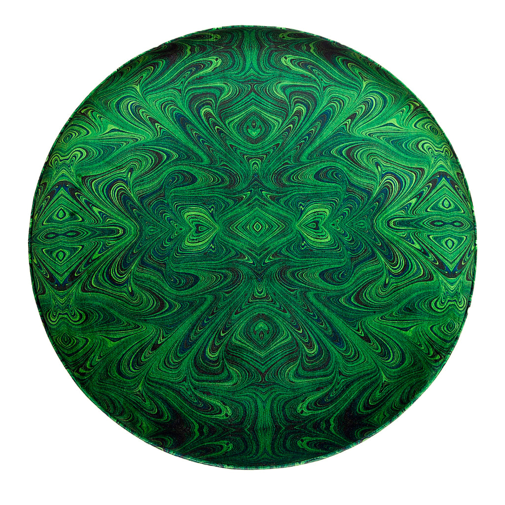 Malachite Fringed Velvet Stool