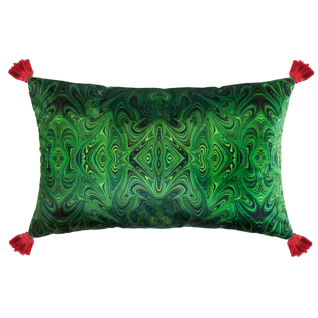 Tasseled Malachite Marbled Velvet Large Oblong Cushion