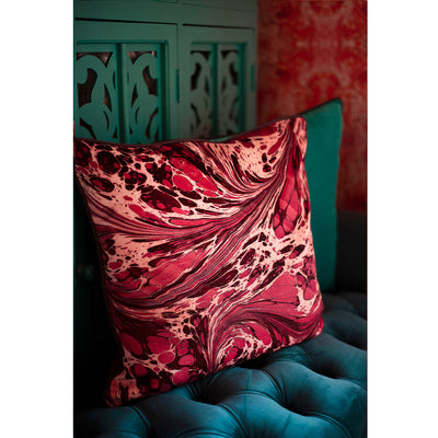 Mulberry Fantasy Marbled Velvet Square Cushion