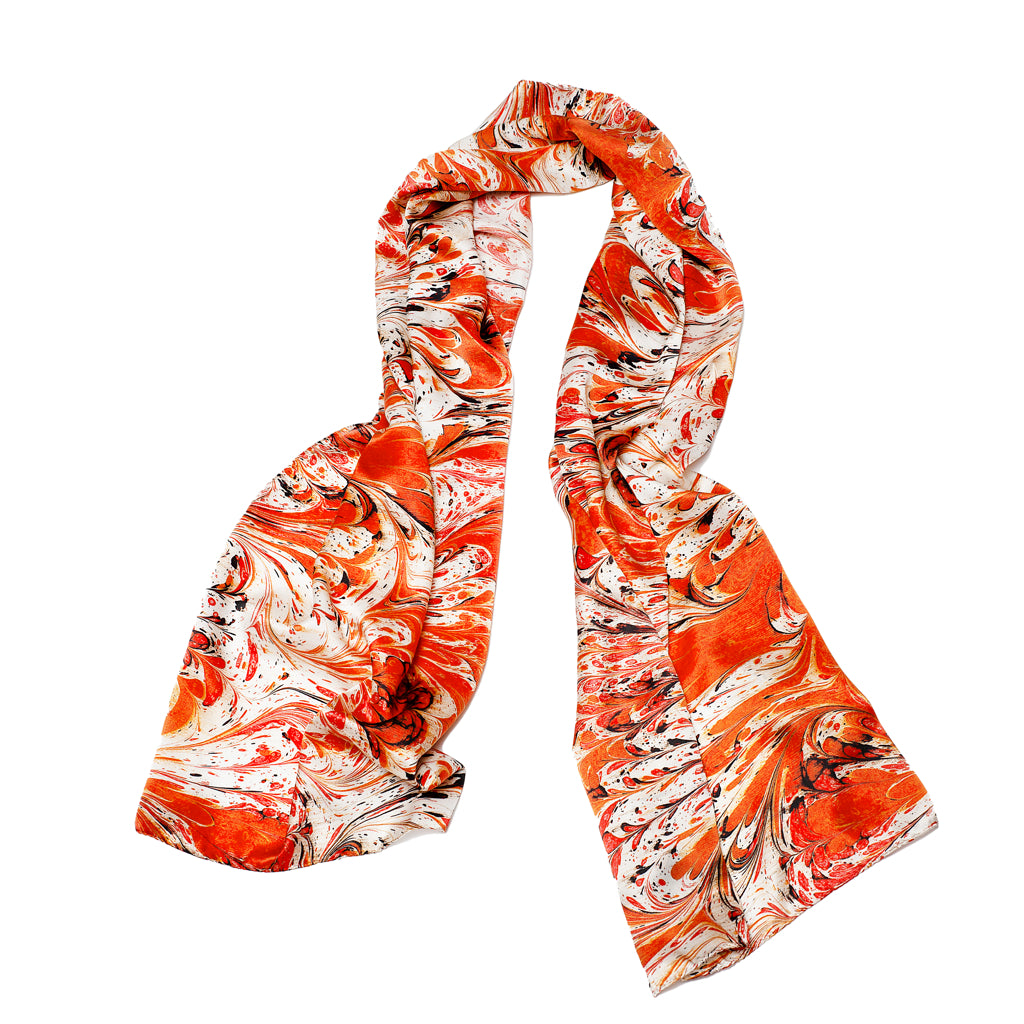 Orange Feathered Wide Long Silk Scarf