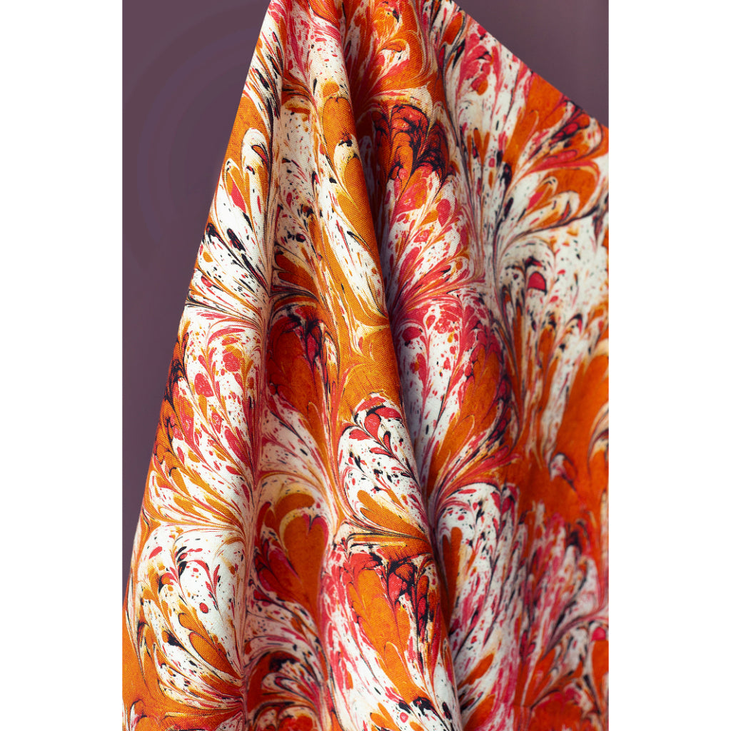 Orange Feathered Linen Fabric