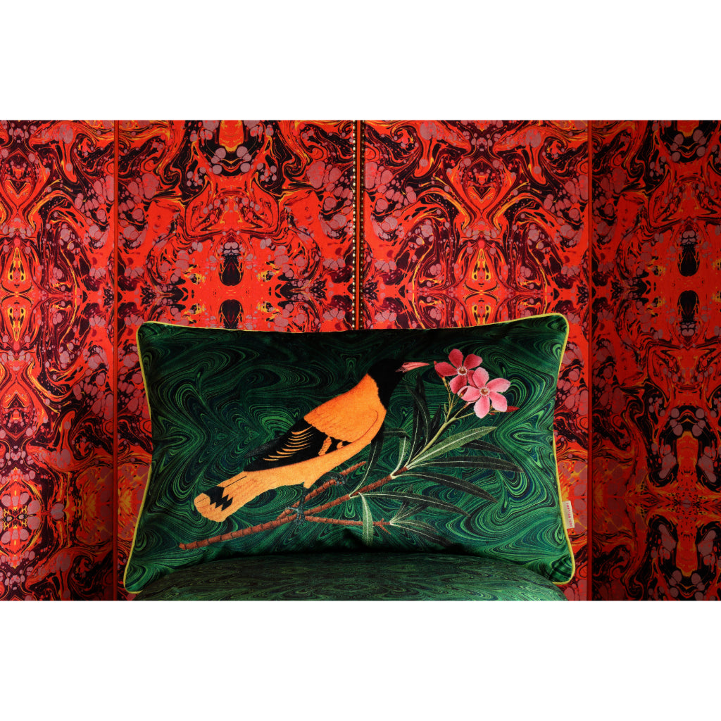 Malachite Oriole Velvet Large Oblong Cushion