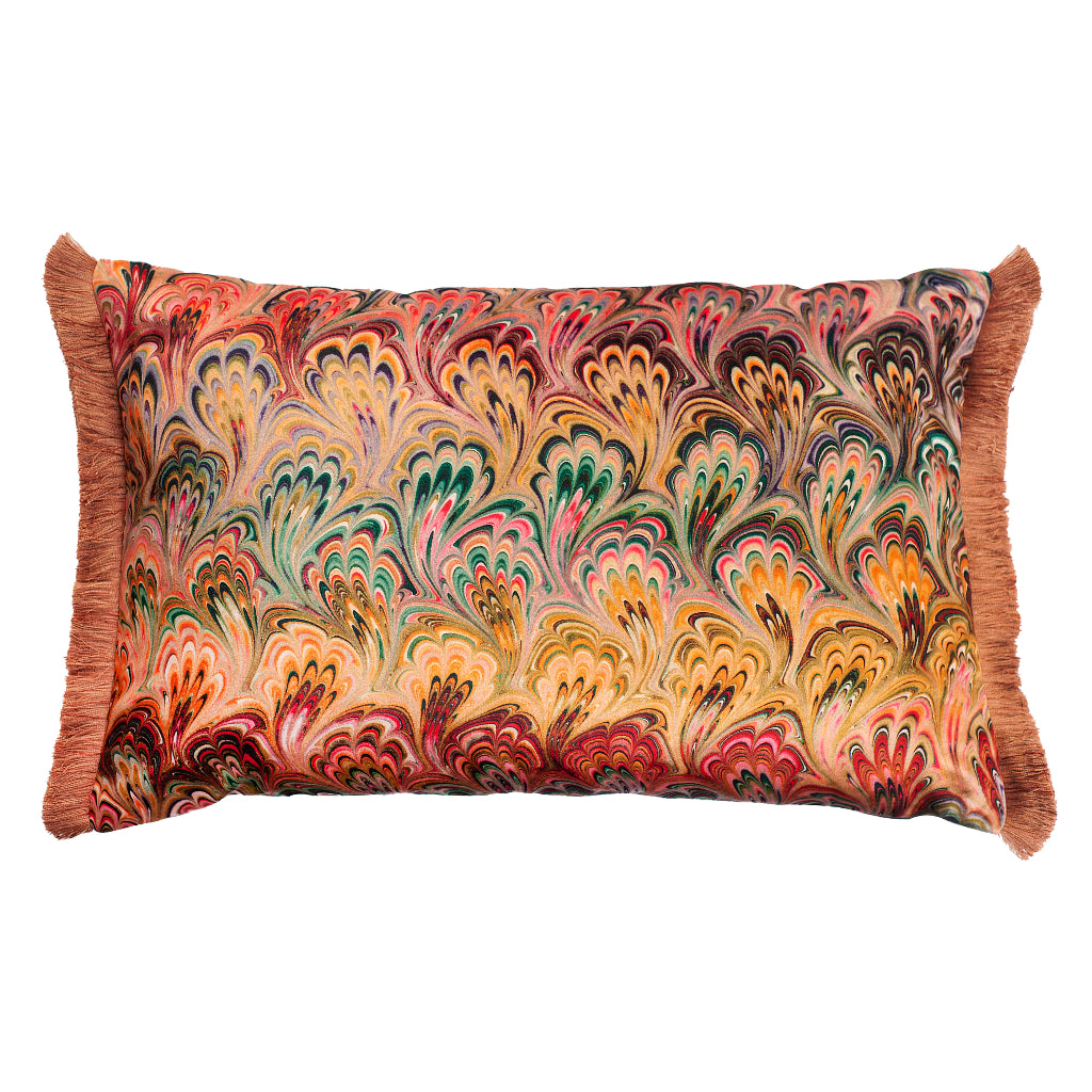 End Ruched Peacock Bouquet Marbled Velvet Large Oblong Cushion