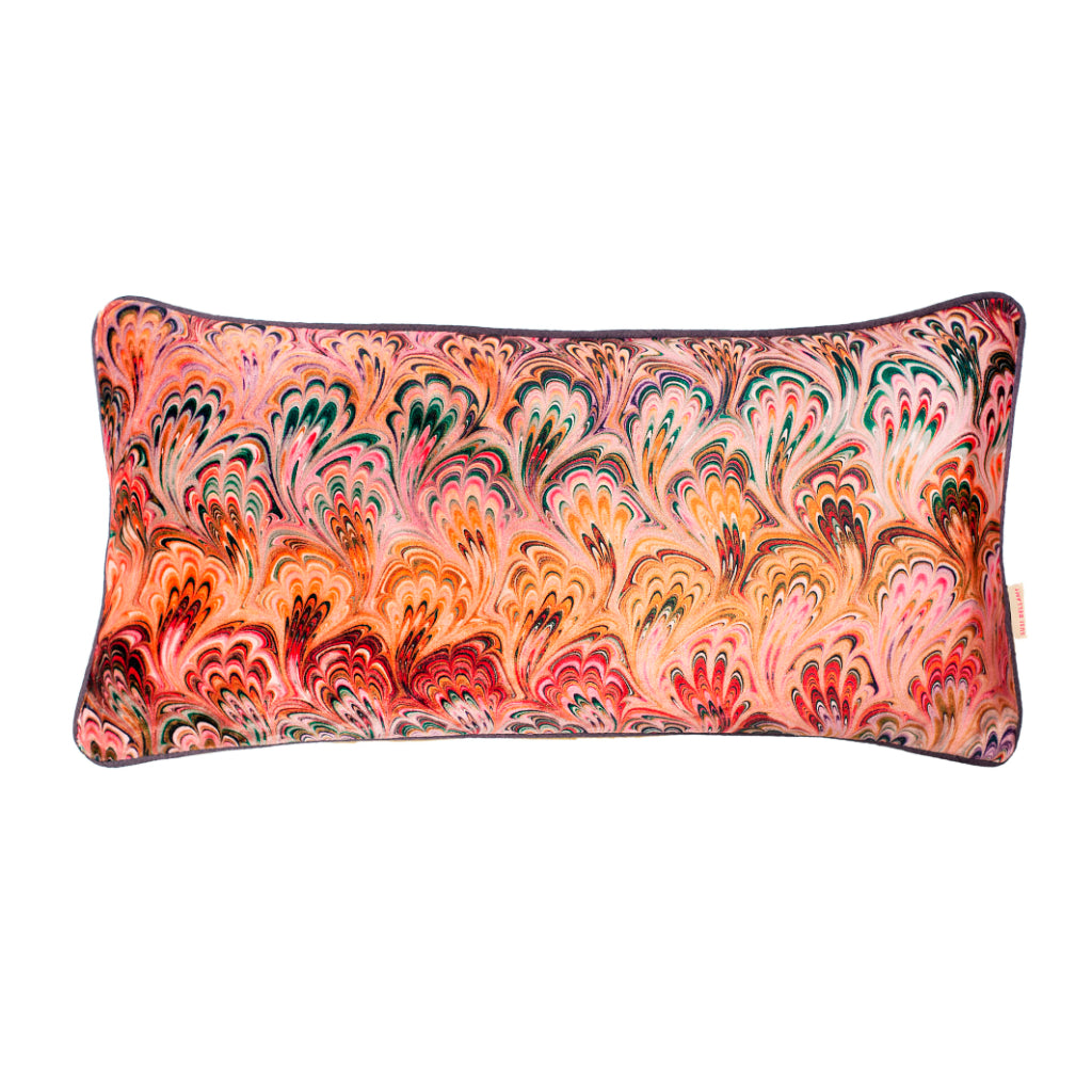 Peacock Bouquet Velvet Medium Oblong Cushion