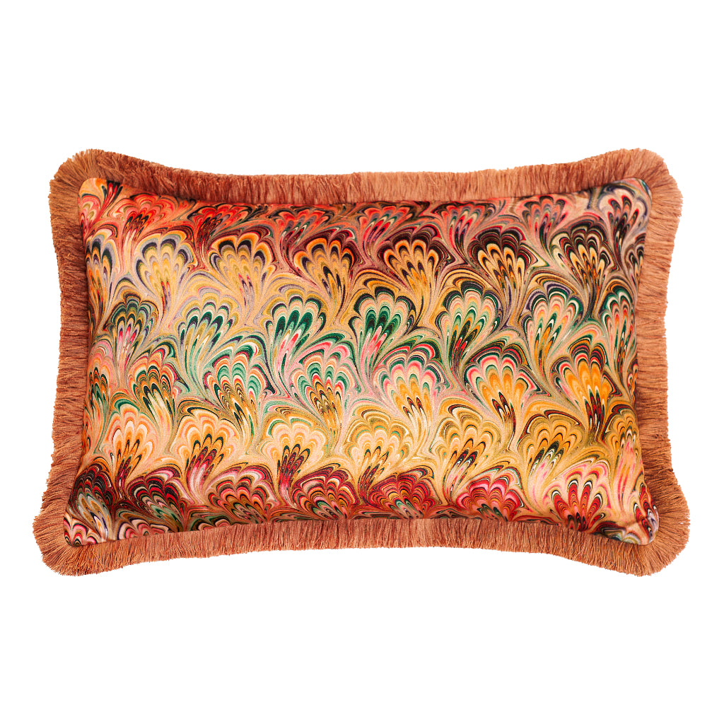 Ruched Peacock Bouquet Marbled Velvet Large Oblong Cushion