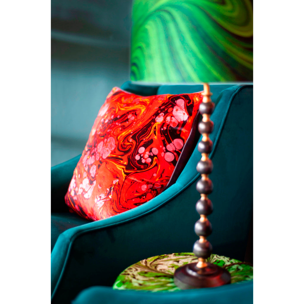Ruby Marbled Velvet Large Square Cushion
