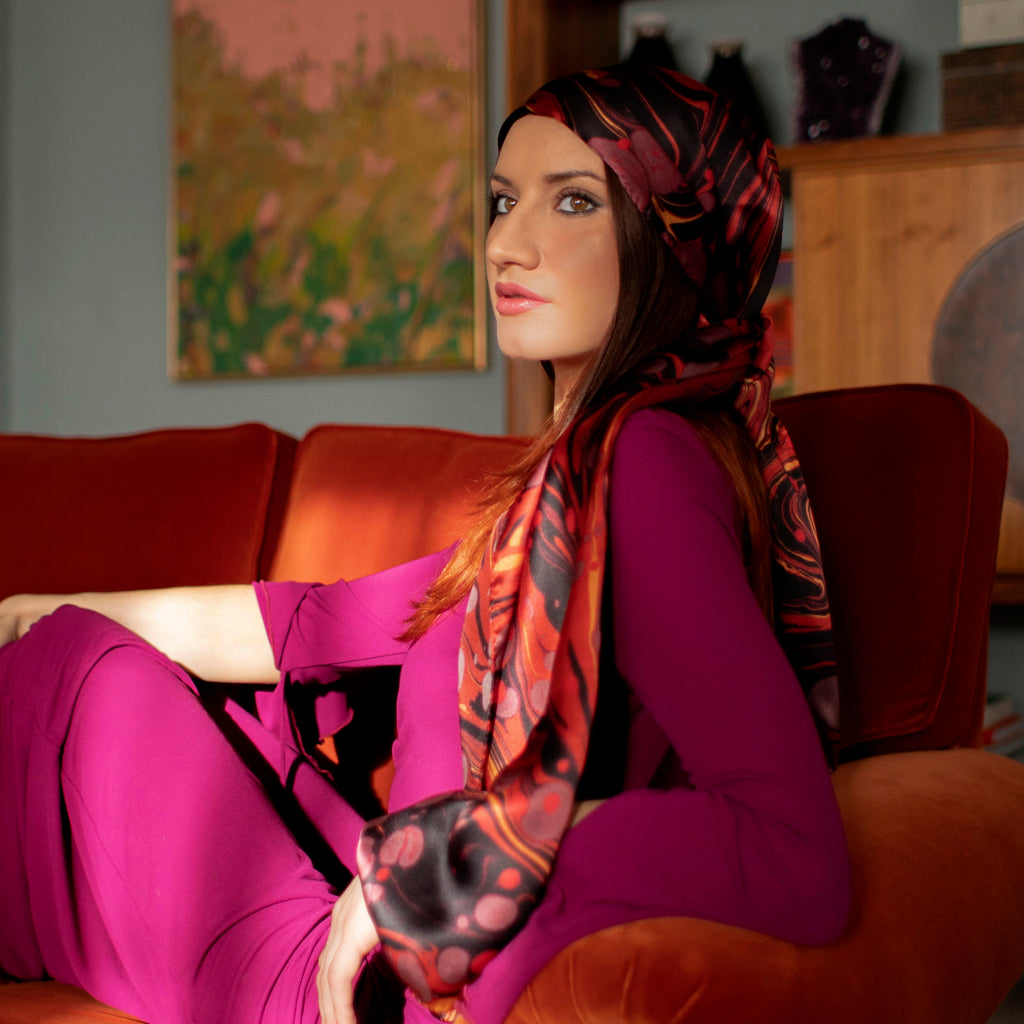 Ruby Marbled Long Silk Scarf