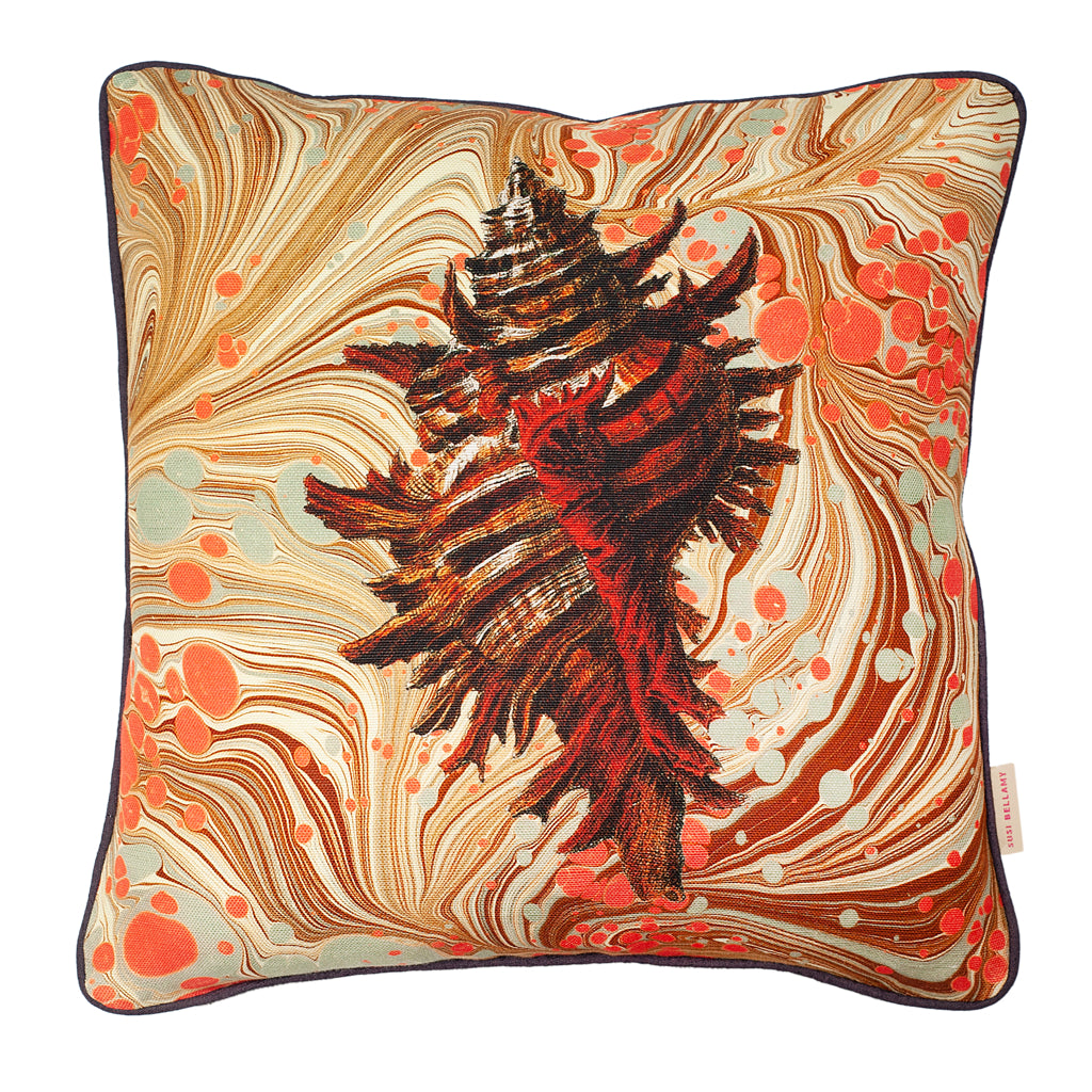 Sand Swirl Conch Linen Small Square Cushion