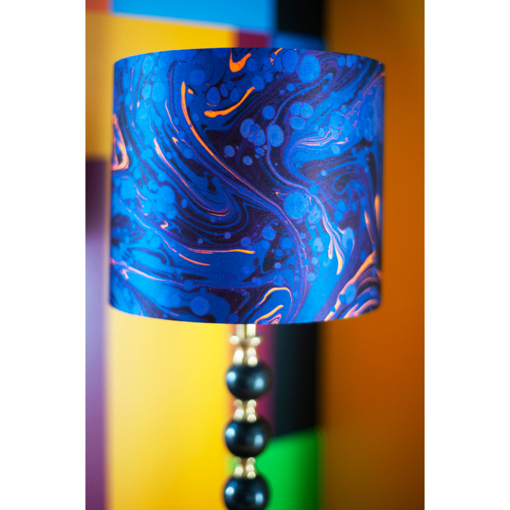 Sapphire Marbled Silk Cotton Lampshade
