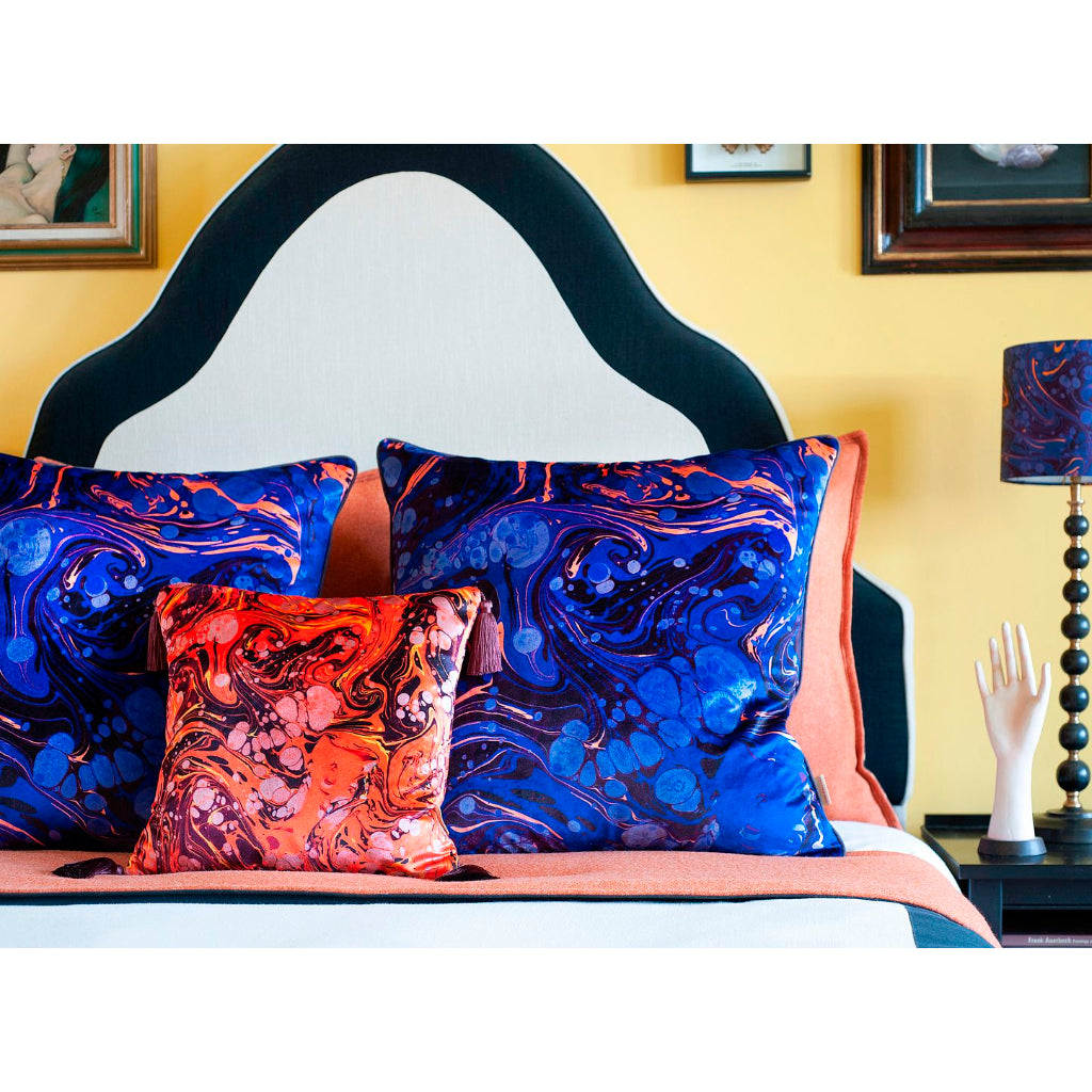 Sapphire Marbled Velvet Large Square Cushion