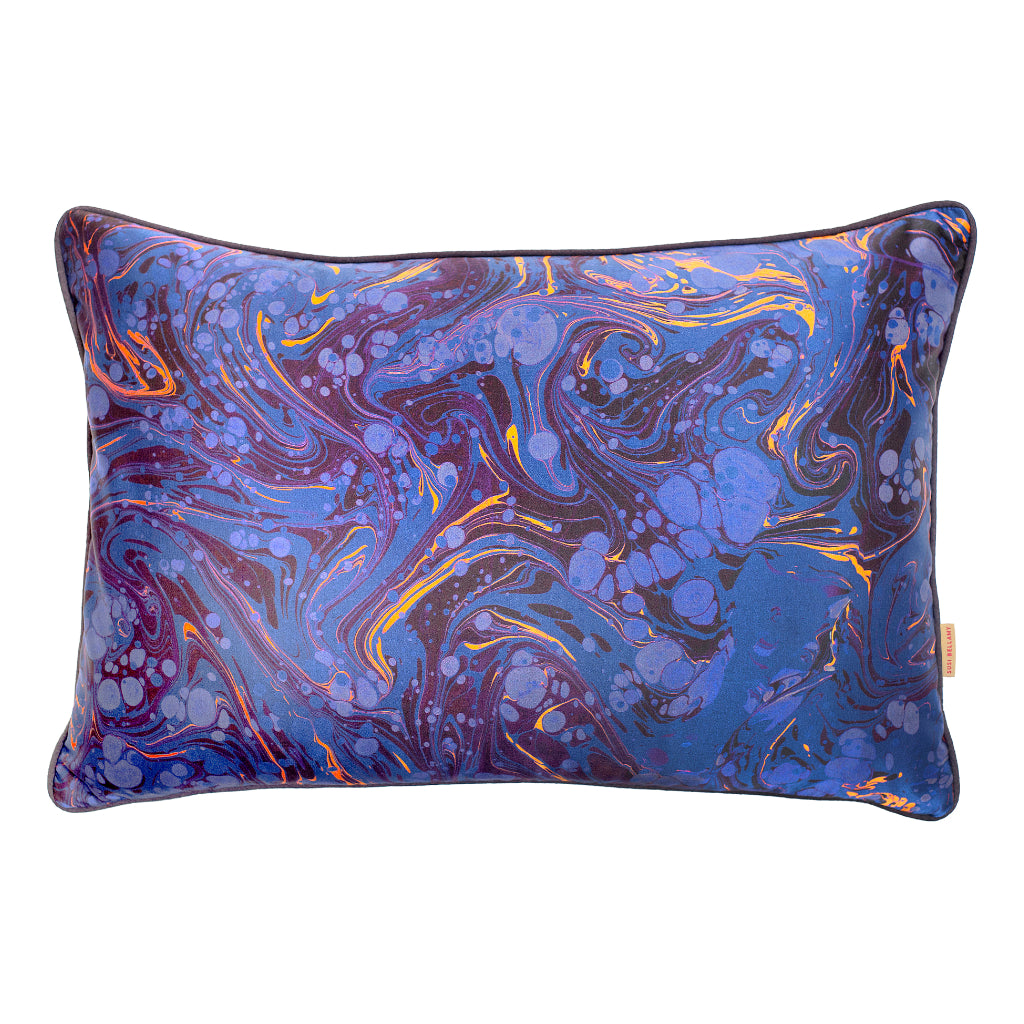 Sapphire Marbled Silk Large Oblong Cushion