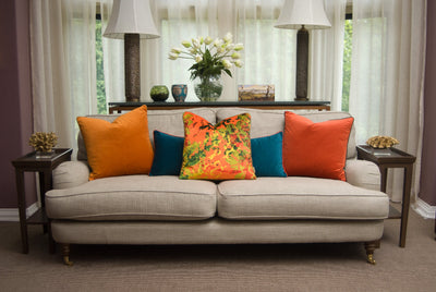 Light Orange Velvet Square Cushion