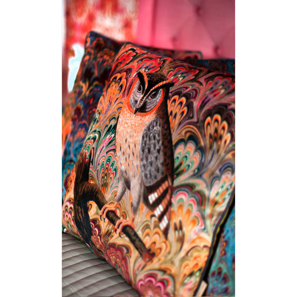 Scops Owl Velvet Square Cushion