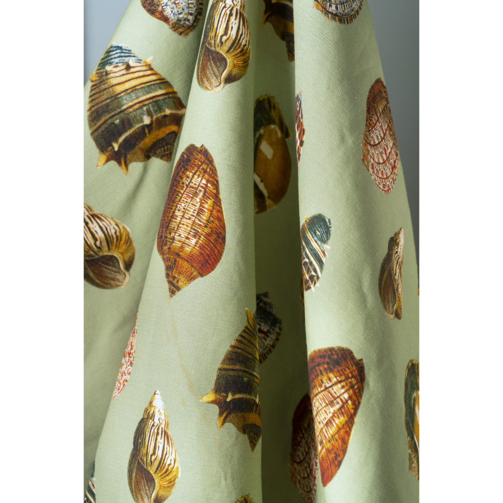 Sea Green Shells Linen Fabric