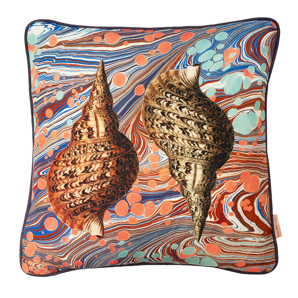 Sea Swirl Two Shells Linen Small Square Cushion