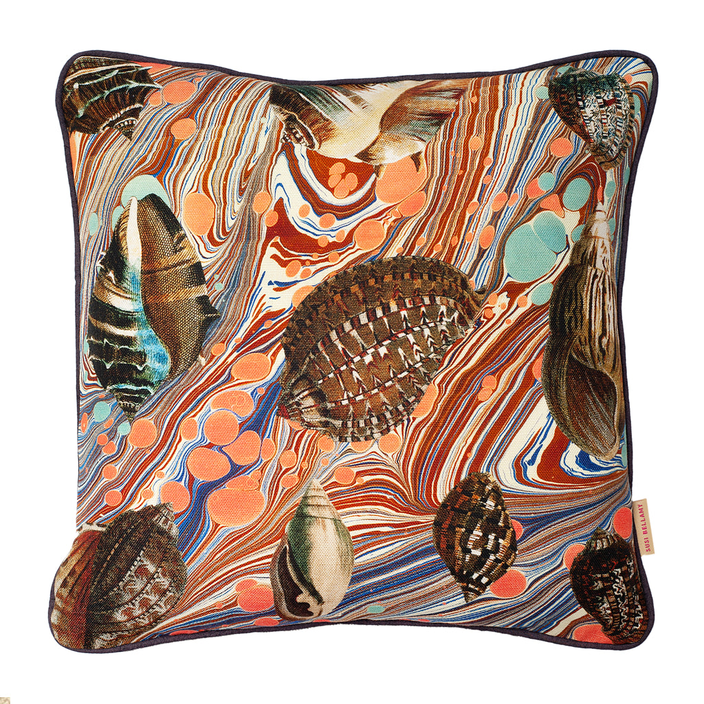 Sea Swirl Shells Marbled Linen Small Square Cushion