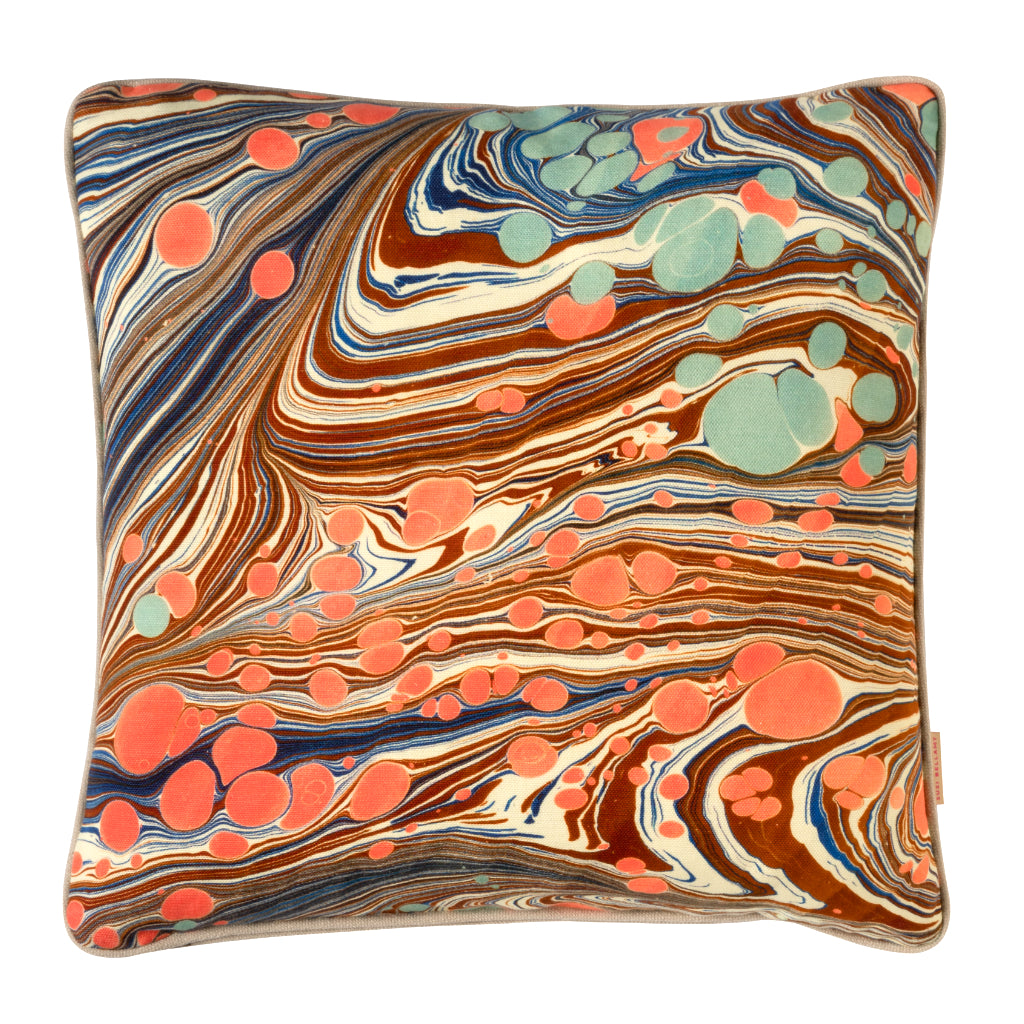 Sea Swirl Marbled Linen Square Cushion