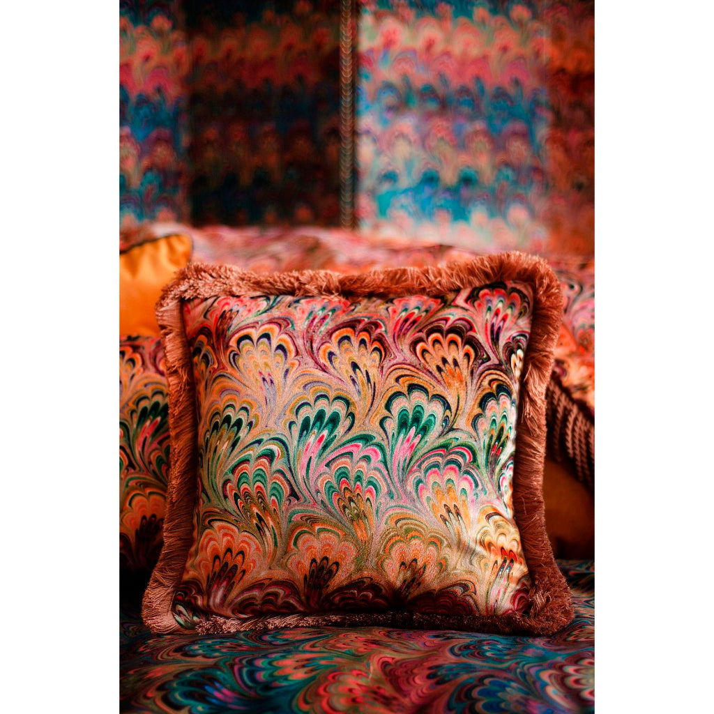 Ruched Peacock Bouquet Marbled Velvet Small Square Cushion