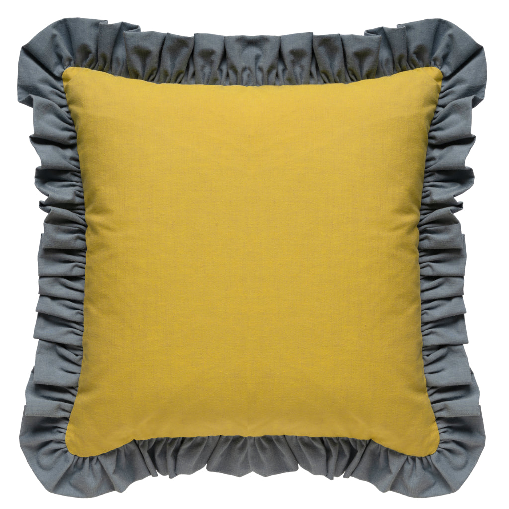 French Grey/Starfruit Ruffled Cotton Cushion