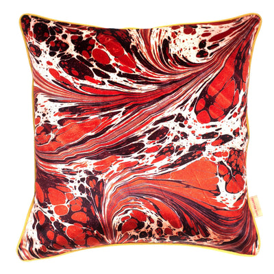 Tan Fantasy Marbled Velvet Square Cushion