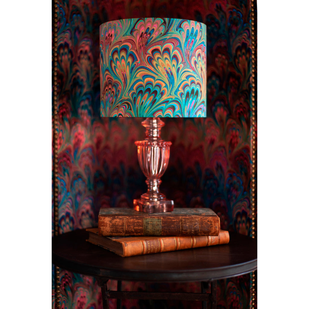 Teal Bouquet Silk Cotton Lampshade