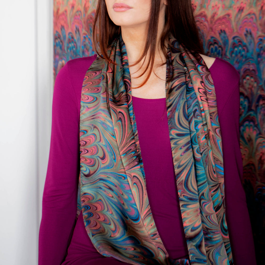 Teal Bouquet Long Silk Scarf