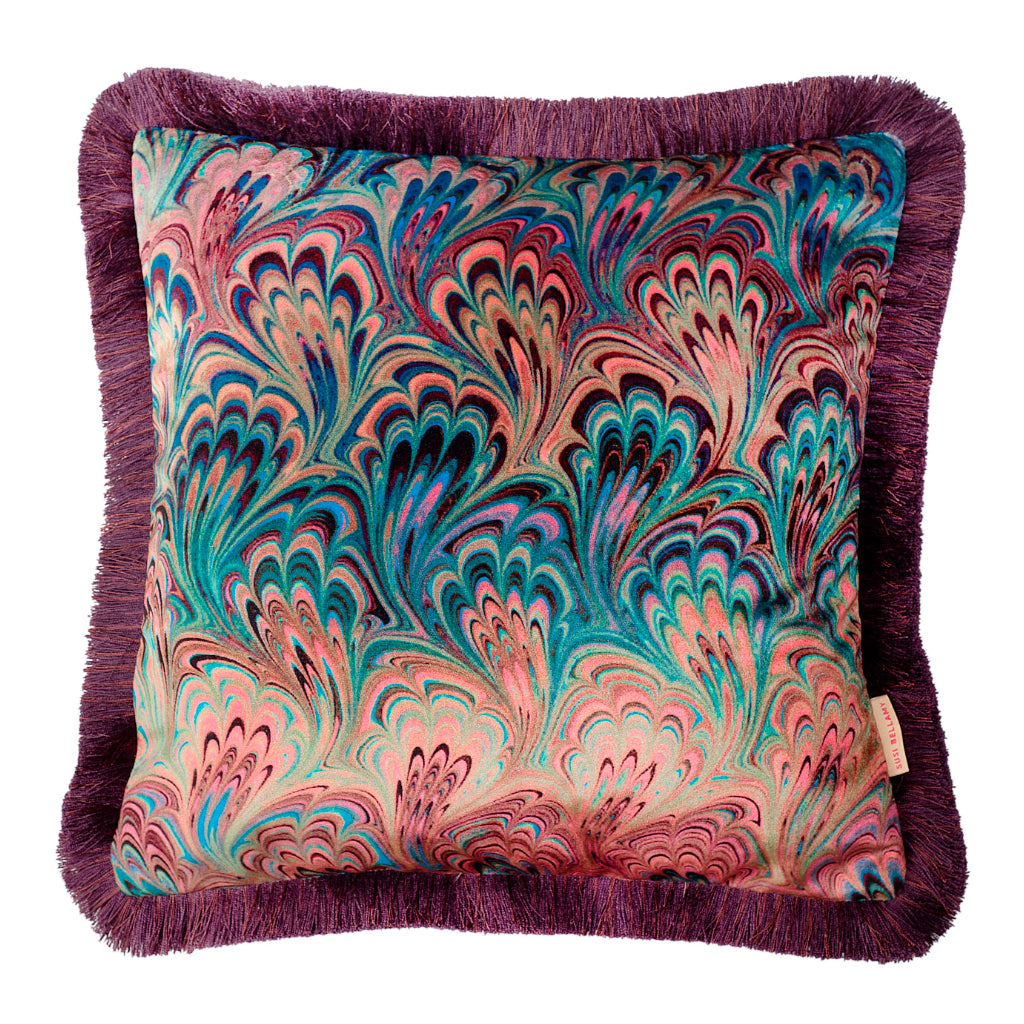 Ruched Teal Bouquet Marbled Velvet Small Square Cushion