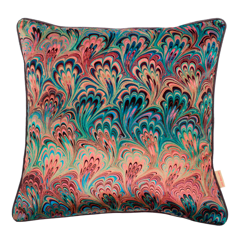Teal Bouquet Marbled Velvet Square Cushion
