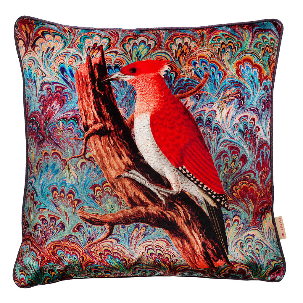 Woodpecker Collage Velvet Square Cushion