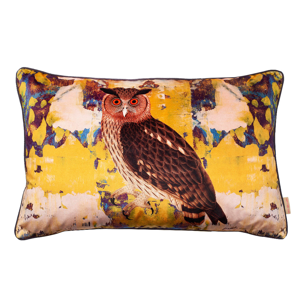Giallo Eagle Owl Velvet Large Oblong Cushion
