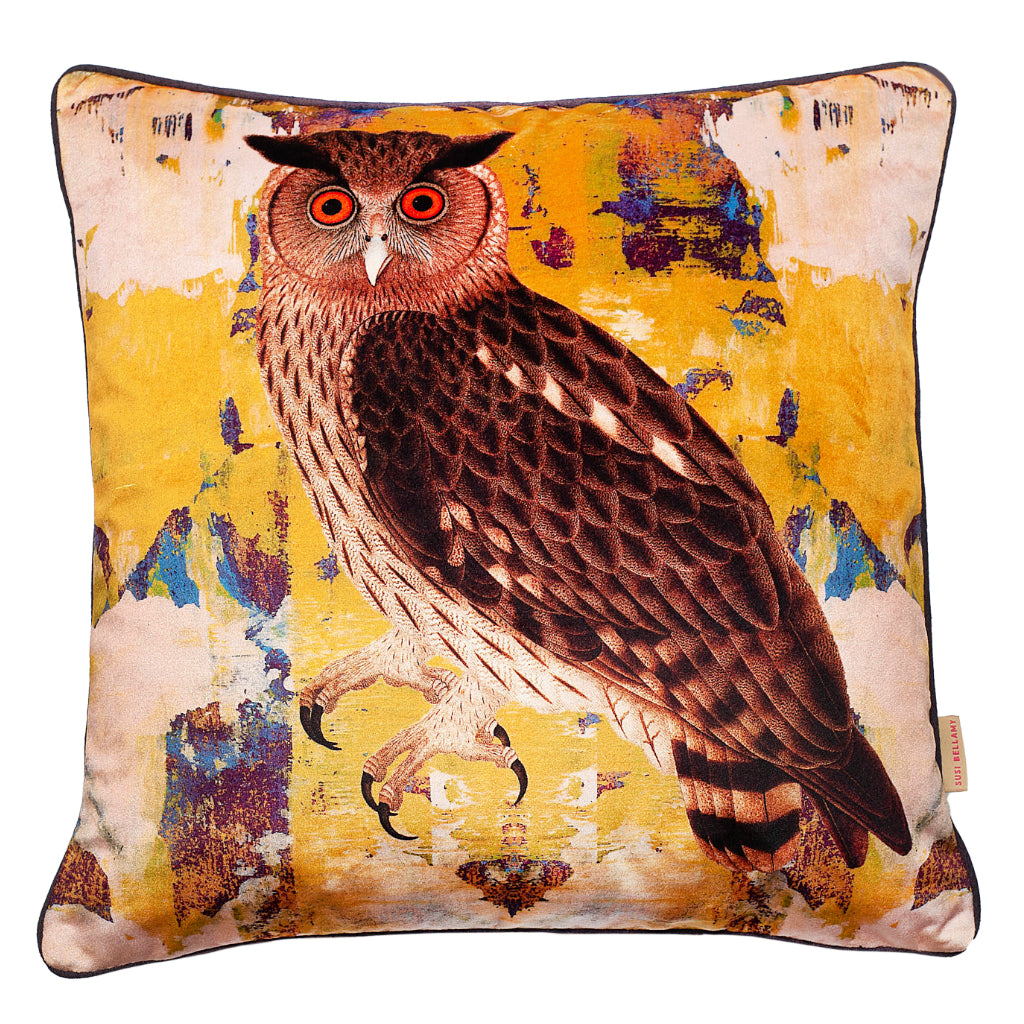Eagle Owl Velvet Square Cushion