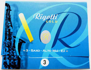 "Rigotti Gold ""Jazz"" Alto Saxophone Reeds, 3/Packet"