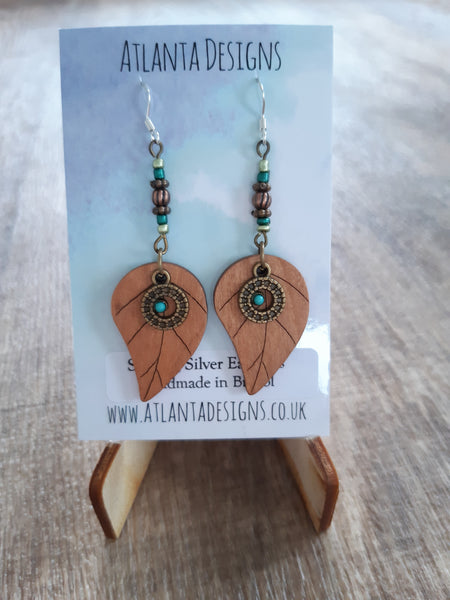 Wooden Leaf Drop Earrings