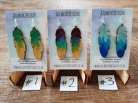 Handpainted Leather Feather Earrings