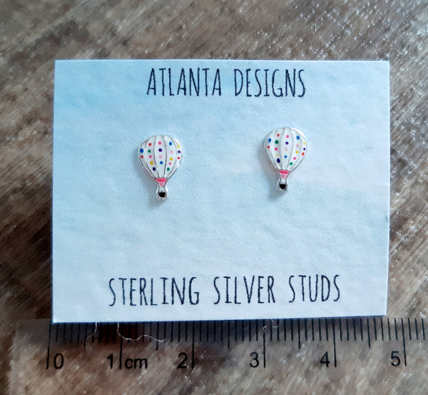 Hot Air Balloon Stud Earrings - Polka Dot