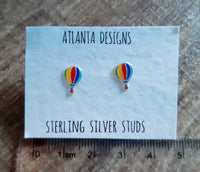 Hot Air Balloon Stud Earrings - Rainbow