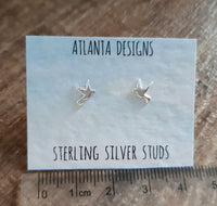 Silver Dove Stud Earrings