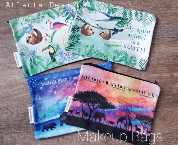 Animal & Balloon Makeup Bags - Sloths, Turtles, Bears etc