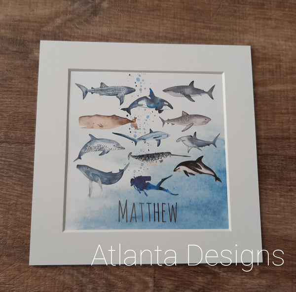 Personalised Name Prints - Sealife