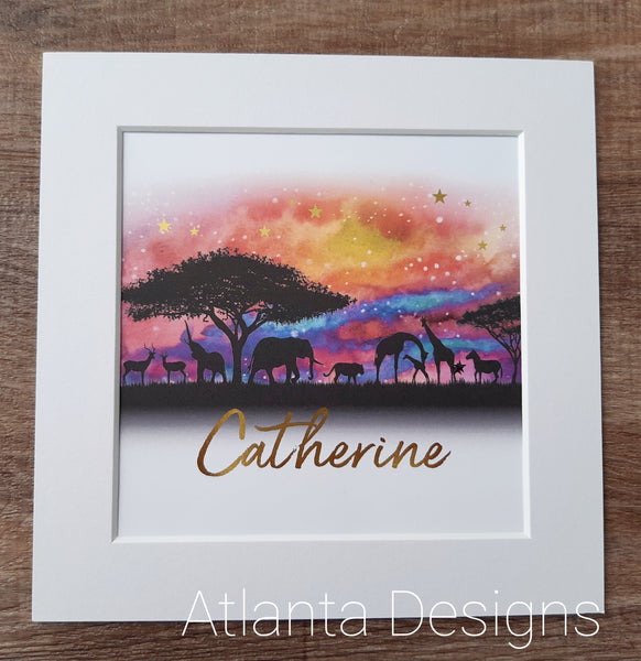 Personalised Name Prints - Safari