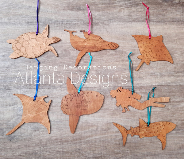 Diving & Sealife Engraved Hanging Decorations