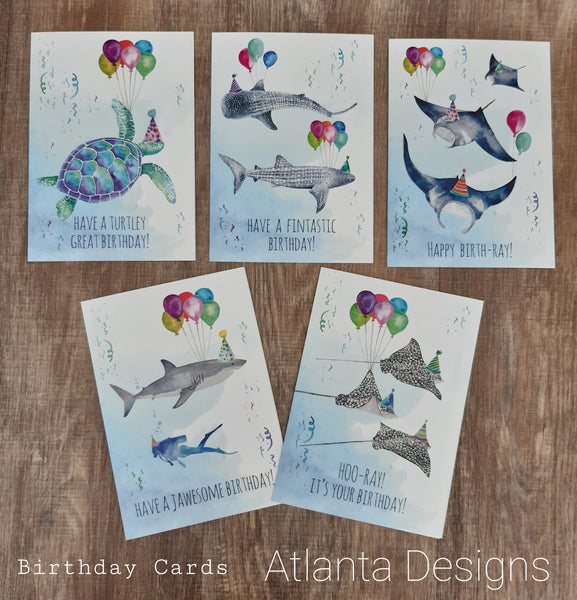 Pack of 5 Diving Themed Birthday Cards